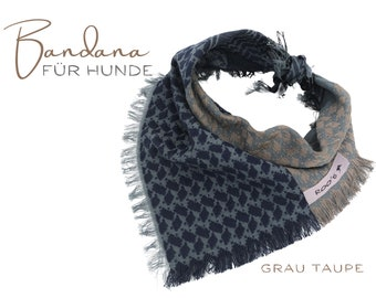 Discreetly patterned dog neckscarf | Bandana | Triangle cloth for binding | grey taupe | | frayed Fransen | Size S/meter