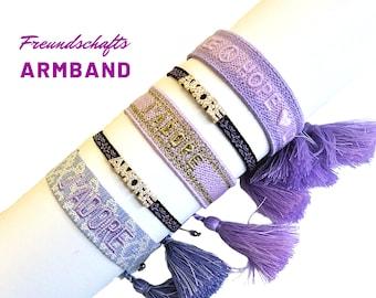 JADORE | AMORE | HOPE | Friendship bracelet | Web bracelet | Tassels | Pearl bracelet | Ribbon | Children's bracelet lila lila violet