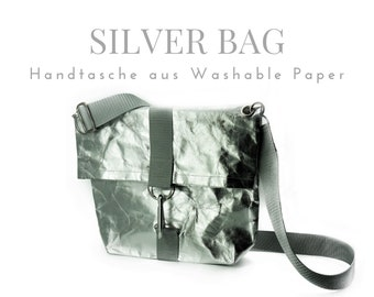 Silver bag from Washable Paper   Shoulder bag   Crossbody Bag   Handshake hand line   SnapPap