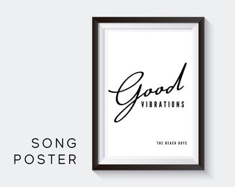 Lyrics Design Poster | Good Vibrations | Digital Print | Typo Image | Art Print | Gift Music Fans | Beach Boys Anthem | Cult | Surfers