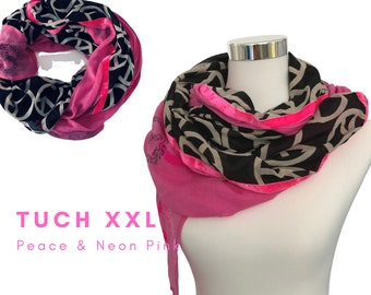 Trendy BOho-style XXL cloth | bold pink, black beige peace print & neon pink velvet ribbons | Single piece | Handpainted