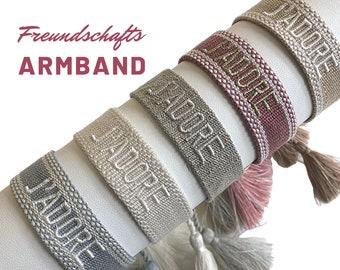 J'ADORE | Friendship Bracelet | Web Bracelet | knotted woven embroidered bracelet | Ibiza Tassels | Boho | Hippie | grey beige pink