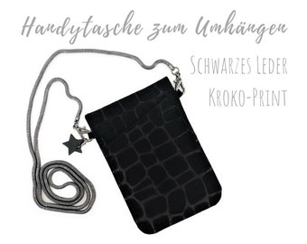 Black phone case for hanging | Crossbody Phone Case | Croco Print | Genuine Leather | Mobile phone shoulder bag | Cross Body Mobile Phone Chain