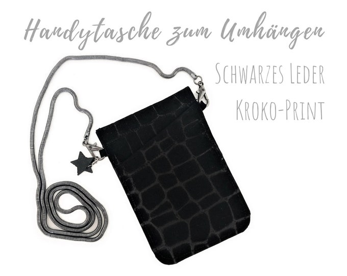 Black phone case for hanging   Crossbody Phone Case   Croco Print   Genuine Leather   Mobile phone shoulder bag   Cross Body Mobile Phone Chain