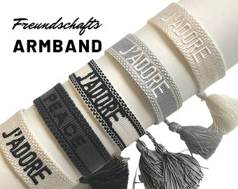 Friendship bracelet | Canvas Webband | knotted woven embroidered bracelet | Tassels | Web bracelet | Boho | Lettering Word