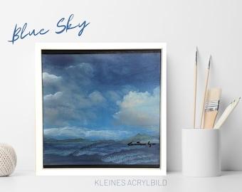 Small acrylic painting | framed original | Blue Sky | white wooden frame | Acrylic paint | art