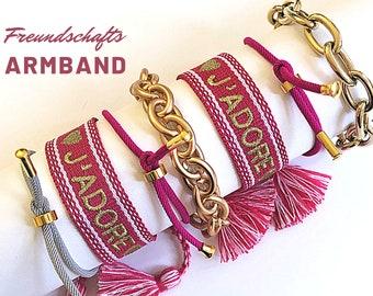 JADORE Freundschaftsarmband | pink gold | Canvas Webband | Bändchen | geknüpftes gewebtes besticktes Armband | Quasten | Webarmband | Boho |