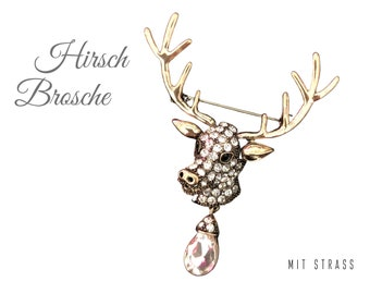 Deer brooch from rhinestone | Deer | Glitter brooch | Pin | Rhinestone brooch