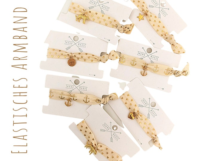 Elastic Bracelet | Hair Rubber | Webband | beige gold | Anchor | Boho | Hippie | Pendant | Anchor | Star | Heart | Leopard | Jewellery card