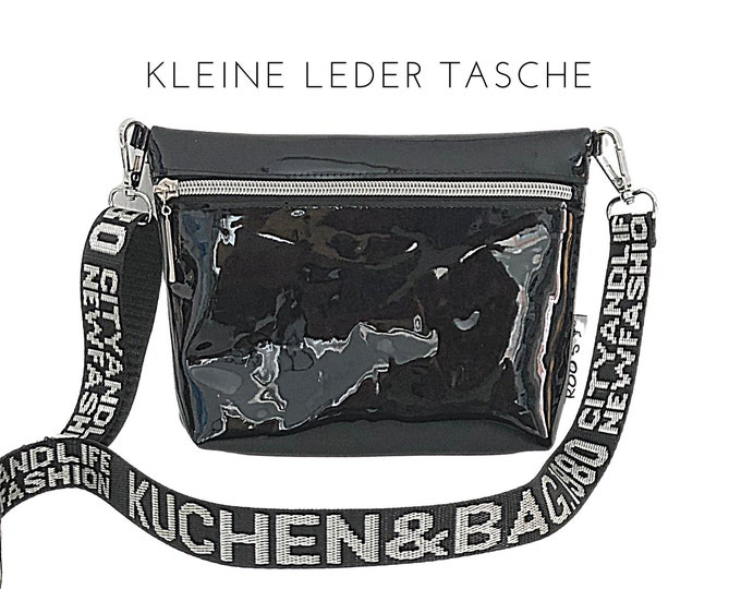 Small black patent leather handbag | glossy black | Shoulder bag | Crossbody Bag | wide belt with font