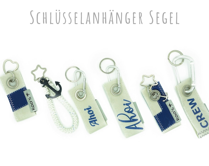 Keychain from recycled sail | Upcycling | Alu-Karabiner | White and blue | Key ring as heart or star