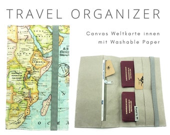 World Map Travel Case | Travel Organizer | Travel Documents | Document Folder | Travel Case | Travel Cover | Passport | Canvas portfolio