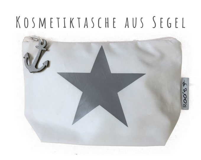 """White cosmetic bag made of sail """"Star"""" 