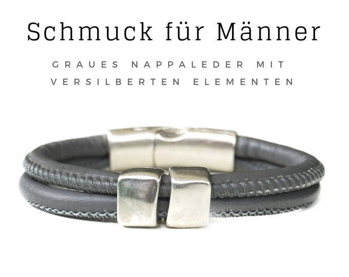 Grey leather bracelet | Nappa leather | silver-plated elements | distinctive magnetic closure | round leather straps | Bracelet