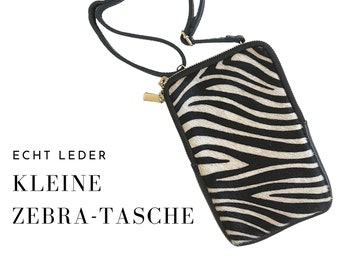 Zebra Bag | Genuine Leather & Fur | Shoulder bag | Smartphone | narrow strap | Mobile Phone Chain | Phone Case Purse | Bag | Animal Fell