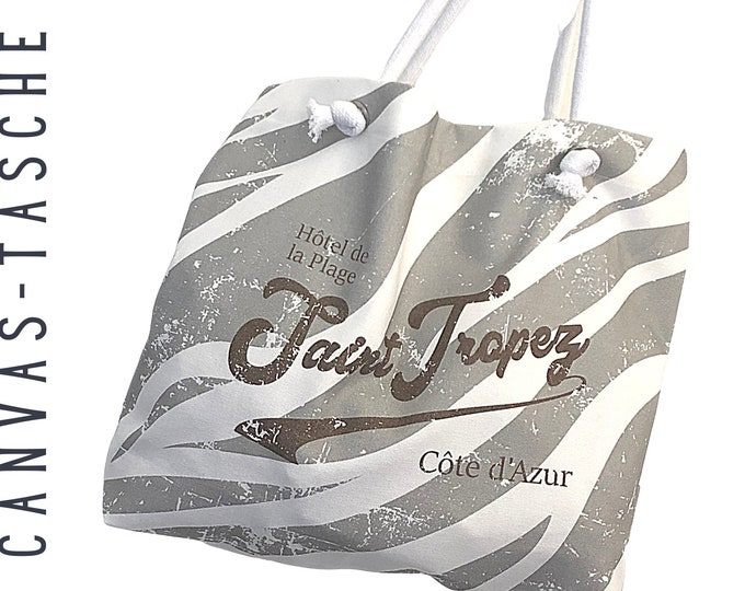 "Canvas Bag ""Saint Tropez Zebra"" | Tote bag | Fabric bag in beige | Cloth bag | Gift | Tote Bag | Animalprint"