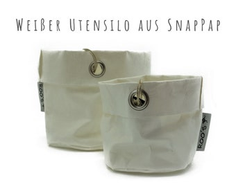 White utensilo baskets from SnapPap | Overpot for herbs | Paper Bag | Washable paper bag | Bowl for jewelry