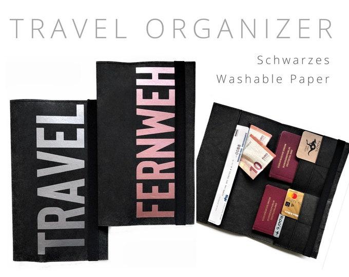 Washable Paper Black Travel Case   Travel Organizer Case   Document Folder   Travel Cover   Vegan Leather   Travel case passport sleeve