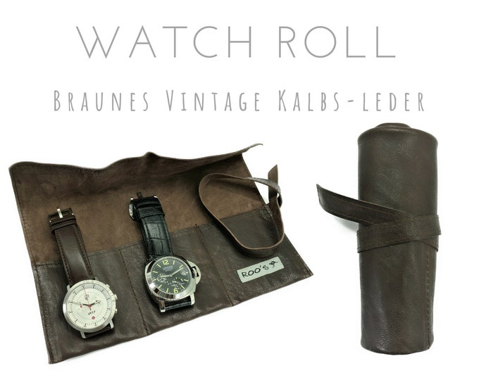 Brown 3 Series Watch Roll in Vintage Calf Leather | Gift Men | Watch bag | Travel Watches Case | Watch Roll | Leather roll