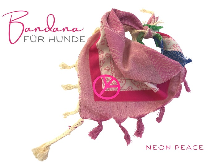 Dogs neck scarf | Bandana | Triangle cloth | for binding | pink | PEACE | Neon | Pet gift |  Cloth collar | fashionable Gr.M/L