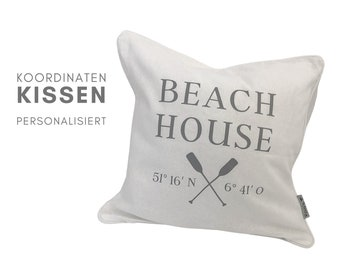 BEACH HOUSE Pillow   maritime pillowcase   personalized with your coordinates   40 x 40   Hygge Boho Decorative PillowCase