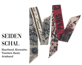 Narrow silk scarf | Handbag Handle | Wrap | Cloth | Hairband | Silk Ribbon | Bracelet | Foulard | Tie | Pocket band | Vintage style