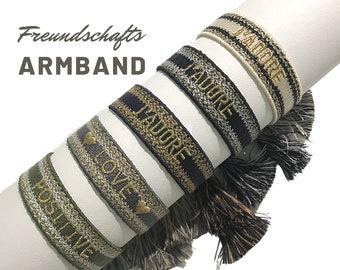 J'ADORE Friendship Bracelet | Webband | knotted woven embroidered bracelet | Tassels | Web Bracelet | Boho | Hippie | Lettering Word