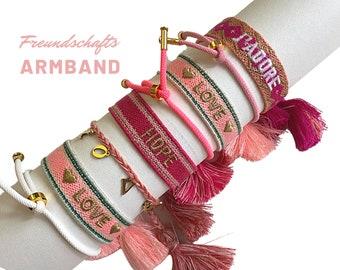 JADORE Friendship Bracelet | pink pink gold | Canvas Webband | Ribbons | knotted woven bracelet | Tassels | Web bracelet | Boho