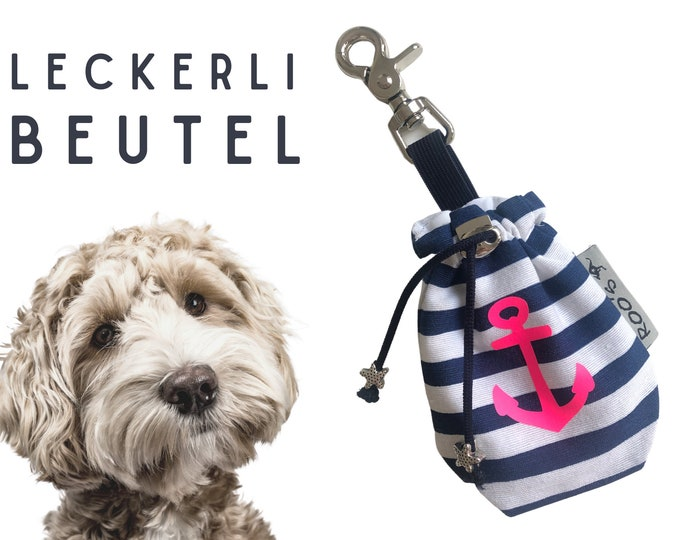 Blue White Striped Delicious Pouch | Anchor in neon pink | Lining bag | for dogs | with carabiner | washable | lined | Animal feed