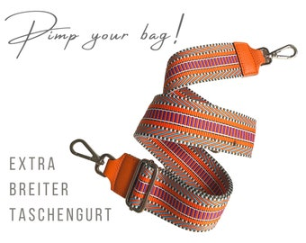 Extra wide strap for handbag | orange pink | 5 cm wide | woven |  Crossbody Bag | XXL adjustable | pimp your bag | Replacement belt