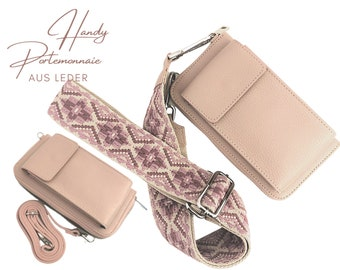 Pink mobile phone wallet | Purse | Purse | Leather capephone | narrow or striped strap in XXL | wide pocket strap