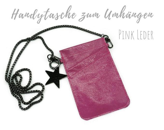 Pink Mobile phone Bag for Cloting   Crossbody Phone Case   Leather   Mobile phone Handheld Bag   Cross Body Leather Sleeve   Leather mobile Phone Chain with Star