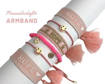 HOPE | SMILEY | pink friendship bracelet | Gift | Web bracelet | woven bracelet | Tassels | Pearl bracelet | Ribbons | Children's bracelet