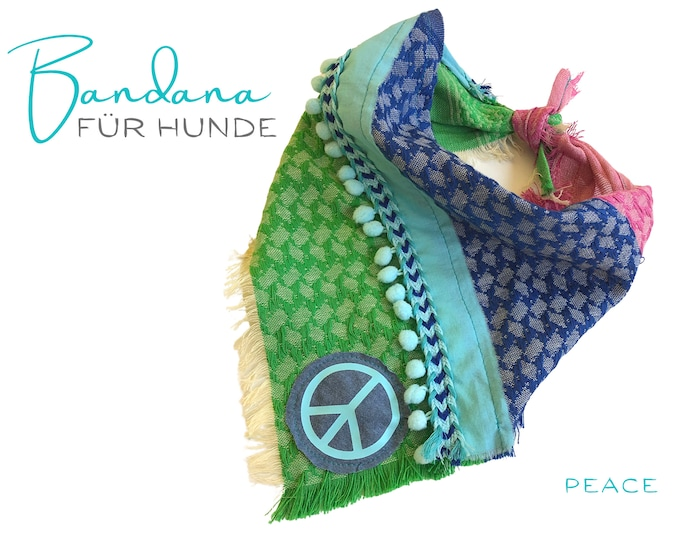 Colorful dog neckscarf | Bandana | Triangle cloth for binding | green turquoise blue | PEACE | Gr.M/L