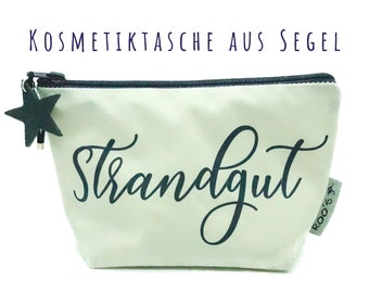 """White cosmetic bag made from sail """"Beach Estate""""   Upcycling   Make-up bag   Sailing bag   White with blue and blue leather star"""