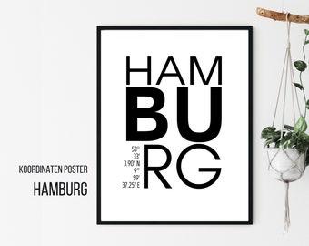 Hamburg Design Poster   Coordinates   Digital Print   Typo Image   Gift entry   Cities Poster City Map   Skandi Style   for Hamburger