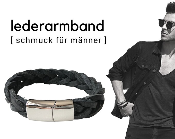 Black braided leather strap for men | Stainless steel closure | Men's bracelet | Gift Father's Day