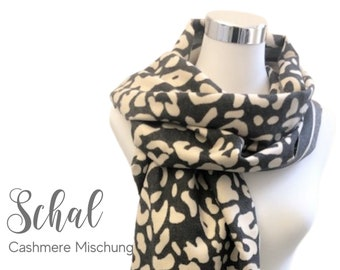 Large cashmere scarf | Leo | light grey beige | woven cloth | 180 x 65 cm | Cashmere Blend | Pashmina | XXL Cloth | Stole