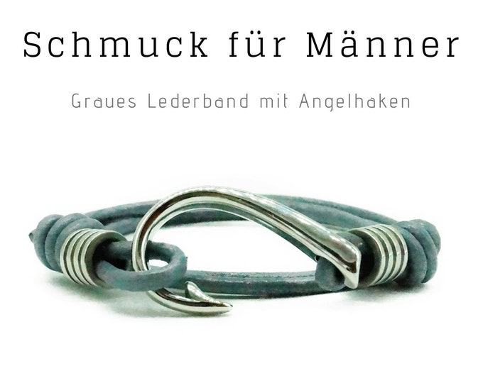 Grey, brown or black: wrap bracelet with silver fishing hook | Leather strap | Men's Bracelet | Gift for Husband | Bracelet Man