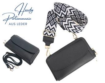 Mobile phone wallet     Wallet   wallet Genuine leather   Shoulder bag     phone case narrow or XXL strap   dark blue ethno