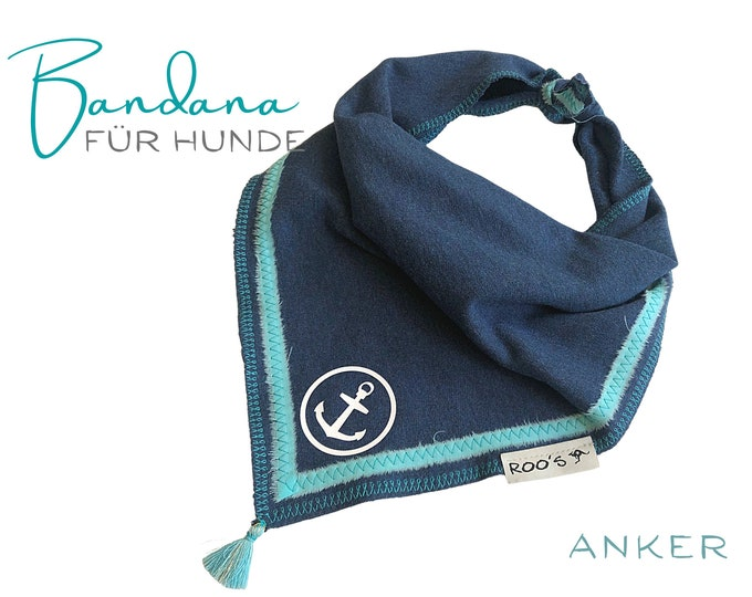 Dogs neck scarf   Bandana   Triangle cloth   for binding   marine turquoise   Anchor   Cloth scarf collar   Jersey   Gr. L
