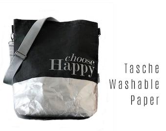Black Bag from Washable Paper | Shoulder bag | Large SnapPap Bag | black with silver | Tote Bag