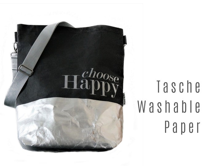 Black Bag from Washable Paper | Shoulder bag | Large SnapPap Bag | black with silver | Tote Bag