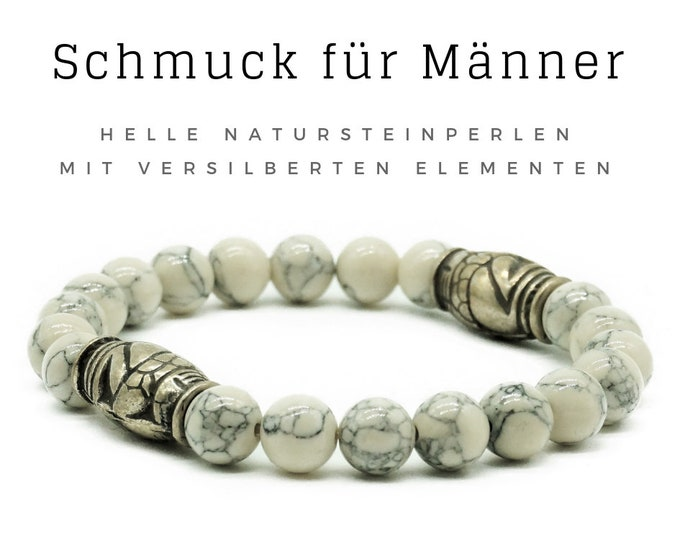 Bracelet for Men | Light grey natural stone beads with silver-plated elements | Male jewellery | Men's bracelet | Pearl bracelet | Light grey silver