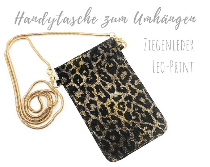 Leo Phone Case for Hanging | Crossbody Phone Case | Gold Leo Print Metallic | Mobile phone shoulder bag | Mobile Phone Chain | black gold silver