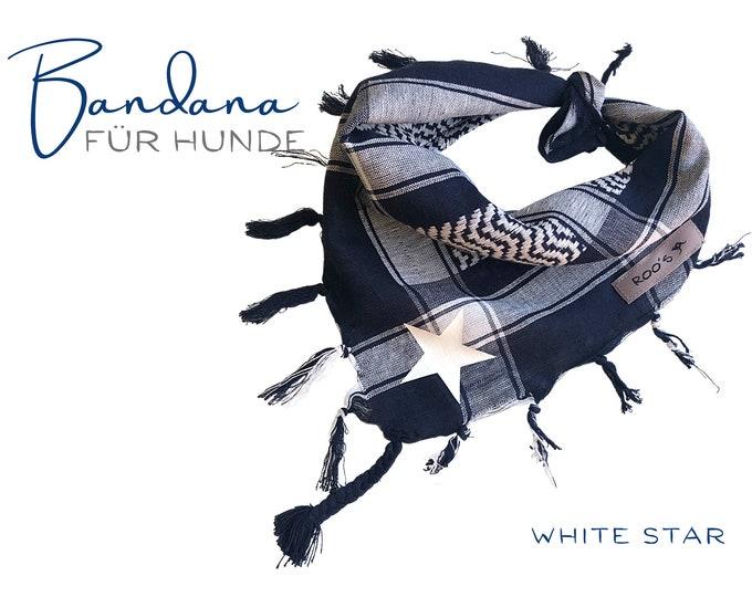 Maritime Blue White Dog Neck scarf   white star   Bandana   Triangle cloth for binding   Fransen   Gr.M/L