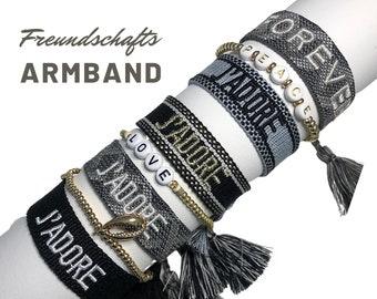 JADORE Friendship Bracelet | grey black | Webband | knotted woven bracelet | Tassels | Web bracelet | Boho