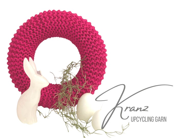 Pink Wreath | knitted | Upcycled wool | Easter decoration | Spring | Wreath | 30 cm diameter | Boho Style | Sustainable