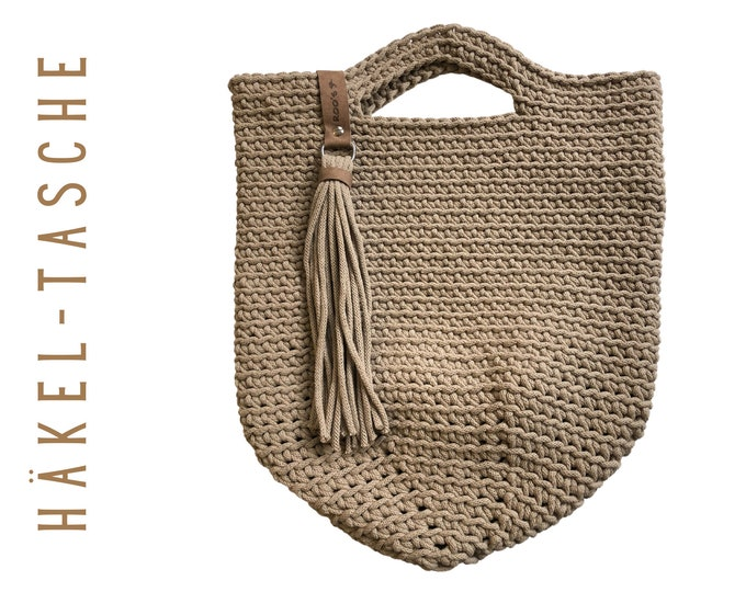 Beige Crochet Bag | coarsely crocheted pouch | crochet rope | crochet bag | taupe | Caramel | Cotton |