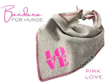 Dogs neck scarf | Bandana | Triangle cloth | for binding | grey neon pink | LOVE | BOHO Style |  Cloth scarf collar | Jersey | Gr.M